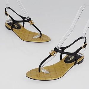 Chanel Gold Logo Quilted Black Sandals Shoes 36 6